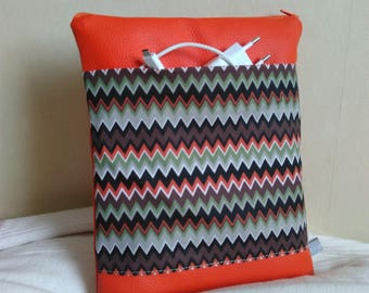 Cover ipad Tablet 10 inches, sleeve ipad Tablet 10 inch orange leatherette and herringbone patterns