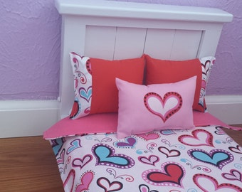 """Handmade -6-PC-bedding set Bright Hearts for American girl doll or any 18"""" dolls bed"""