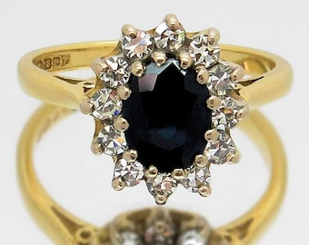 Vintage Sapphire And Diamond Ring, 1.40 Carat Blue Sapphire & Twelve Diamonds 0.36 Carat Cluster Ring, Free Worldwide Shipping