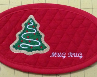 CHRISTMAS TREE!! An X-Large Embroidered Quilted Coaster, handmade from Cotton Double Diamond Quilting & Embroidery. Great Stocking Stuffer