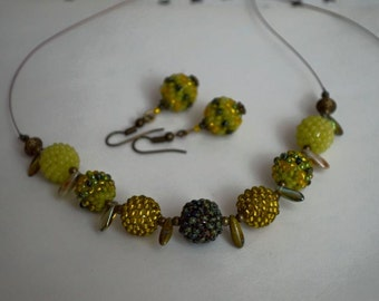 Elegant beaded necklace and earrings