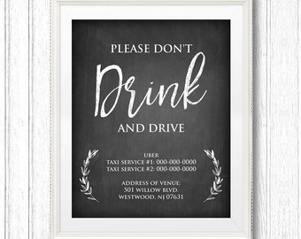 Wedding Taxi Service Sign, Don't Drink and Drive Sign, Printable Wedding Transportation Sign, Editable Text, Instant Download, #CH31
