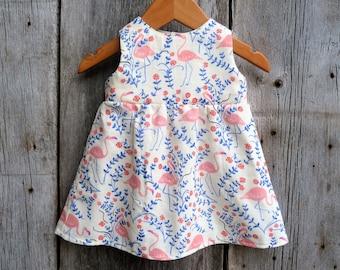 Organic baby dress, Baby birthday dress, Flamingo baby dress, Florida baby, Baby special occasion dress, toddler dress, Baby girl gift