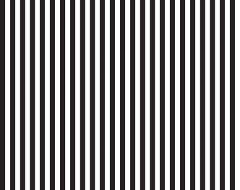 Riley Blake Quarter Inch Stripe, White and Black, fabric by the yard