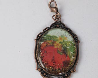 Antique Style Copper  Fall Resin Pendant