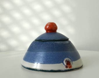 Ceramic pot with lid in red white and blue - handmade stoneware pottery