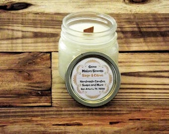 Sage and Citrus Scented Wood Wick Soy Candle