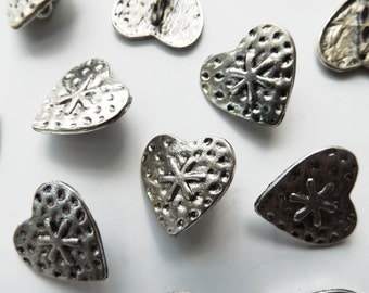 antique silver tone metal HEART buttons 19 mm, sewing supplies