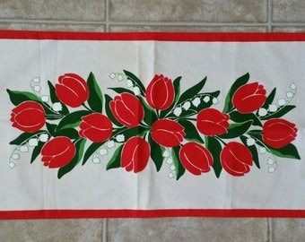 Vintage Beautiful Finlayson tulips & lily of the valley enjoying the day Tea towel print  made in Finland