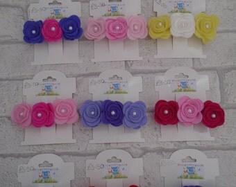 Flower girl occasion felt flower barrette clip pretty flower hair clip french barrette hair clip bridesmaid custom handmade pick your colour