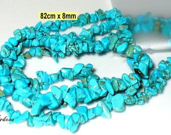 1 strand 82cm turquoise splitter imitation. 7-8 mm (704.2.1)