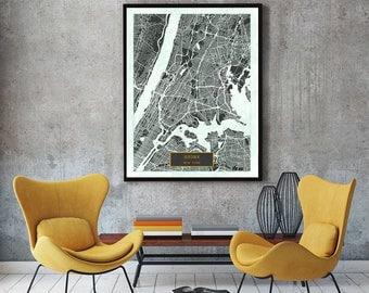 BRONX New York City Map Bronx Art Print Poster