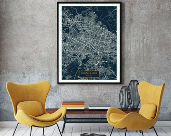 GUADALAJARA Mexico CANVAS Large Art City Map Guadalajara Mexico Art Print poster map art jt JackTravelMap