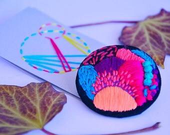 Embroidered Neon Pink Brooch - Neon pink & Coral Details - Embroidered Jewelry - Colorful Fabric Badge - Fabric Pin - Unique Statement Pin