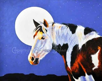 PINTO HORSE PAINTING Horse Art Fine Art Giclee Print Pinto Horse Painting Gypsy Horse Signed Print Giclee Brown Black White Blue Full Moon