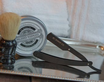 Logan Straight Razor Kit. Unique Gift. For Him. Personalized Gift. Husband Gift. Boyfriend Gift. Unique Christmas Gift. Grooming Kit.