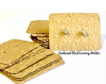 Earring Cards, Display Card, Craft Chipboard Earring Packaging for Handmade Jewelry Sellers, Embossed Cards, Embossed Earring Cards, 28QTY
