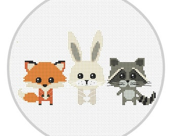 Animals Cross Stitch Pattern for baby Woodland animals nursery decor PDF Forest animals Fox Racoon Rabbit New baby Modern cross stitch X200