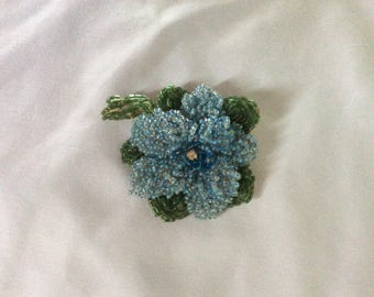 Antique Brooch, Glass Beading on Leather