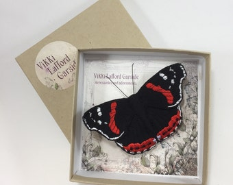 Red Admiral butterfly brooch, hand crafted fabric butterfly brooch or hair clip, embroidered realistic butterfly pin