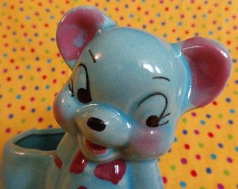 Vintage Pottery Planter ~ Blue Bear ~ Kitsch ~ Retro Planter ~ Big Eyes ~ Nursery Decor ~ Baby Shower Gift ~ Pencil Holder ~ Herb Pot