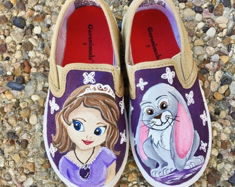 Sofia the First painted shoes- disney painted shoes