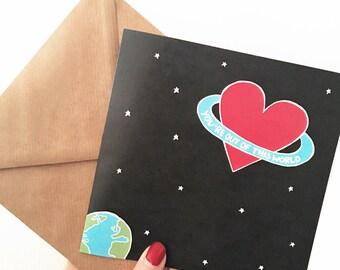 Geek Valentine's card, unusual Valentine's card, Valentine's card for him, space Valentine's card, quote Valentine's card