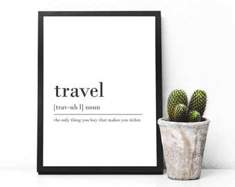 Travel Digital Download Print INSTANT DOWNLOAD Definition Print Modern Home Decor Travel Definition Posters Digital Typography Art