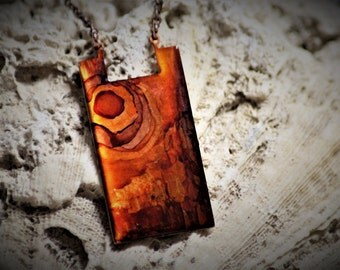 Shades of Orange and Brown Hand Painted Alcohol Ink Vintage Copper Necklace