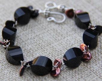 Black Onyx and Czech glass copper petal bracelet
