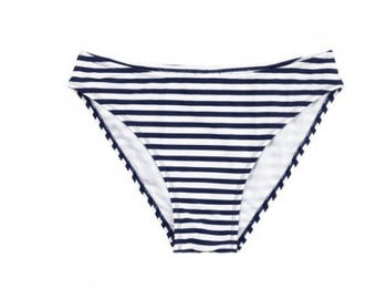 Monogrammed Bathing Suit Bottom - Separates - Swim Suit NAVY/WHITE STRIPE