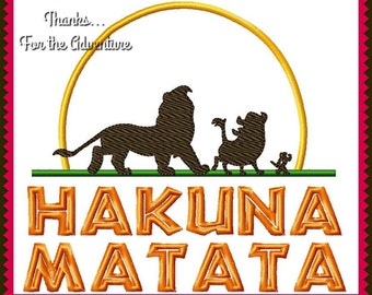 Hakuna Matata Lion King Simba, Timon, Pumba Digital Embroidery Machine Applique Design File Combo Design 5x7 and 6x10