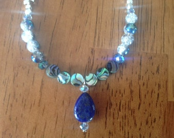 Lapis Teardrop and Abalone Rounds Necklace
