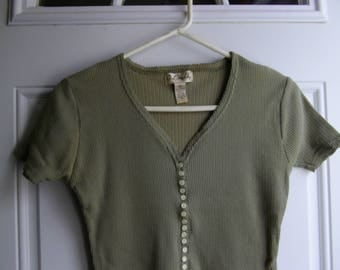 Olive Green Short Sleeve Top by One Step Up, Size Small