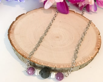 Essential Oil Diffuser Necklace / Diffuser Necklace / Essential Oil / Lava Bead Necklace / Healing Crystals and Stones / Stone Necklace
