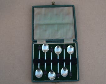 Coffee Bean Spoons - Set of Six - Boxed - Silver Plated - Vintage Silverplate