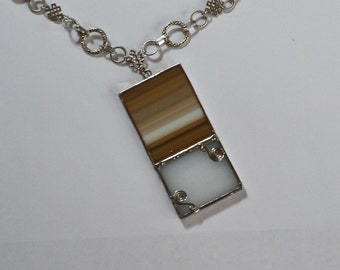 Rectangular stained glass pendant