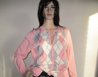 Vintage Argyle knit Cardigan Sweater wool S / m