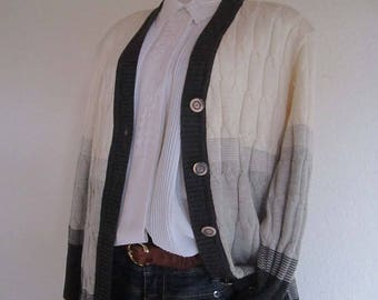 Vintage 80s Wool Cardigan Sweater jacket Raven wool oversize