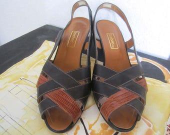 Vintage 80s Lorbac Sandals leather shoes leather Sandals 38
