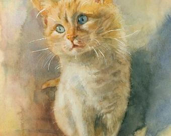 Cat  PRINT of my original Watercolor Art,  Cat  art print - cat wall art, cat lover gift Signed Limited Edition Giclee Print Cat art print