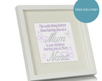 Mothers Day Frame, Personalised with gemstone detail