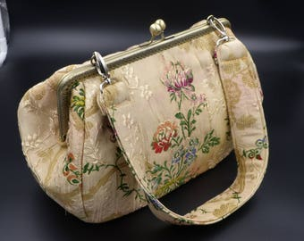 very old home decor fabric bag / / vintage bag / / tapestry bag / / beige floral bag / / retro bag