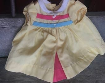 Chatty Cathy Tagged Doll Dress |  Chatty Cathy Nursery School Outfit |  Yellow Chatty Cathy Dress