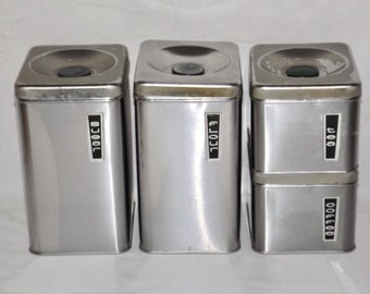 Stainless Steel canister set,vintage chrome canisters,set of 4,flour,sugar,coffee,tea,stacking canister,kitchen storage,silver canister set