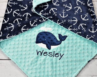 Personalized Minky Baby Blanket - Anchor Minky Baby Blanket - Anchor Blanket - Whale Minky Blanket -Anchor baby Blanket-Whale baby blanket