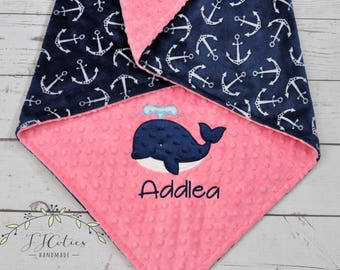 Minky Baby Blanket Personalized-Anchor Minky Baby Blanket-Anchor Blanket-Whale Minky Blanket Anchor baby Blanket-Whale girl baby blanket