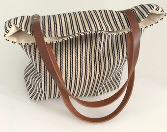 Bags and Purses, Market Bag, Canvas Tote Bag, Tote Handbag, Leather Handles, Striped Totes, Totes that Close