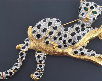 Adorable Vintage Large Cheetah In Tree Brooch .