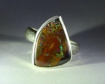 Australian boulder opal ring, sterling silver 950%